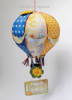 From the HIGH SKIES SVG KIT, ConnSue's Hot Air Balloon is soaring away!   I can just imagine this one high above floating in the sky!  It's gorgeous!