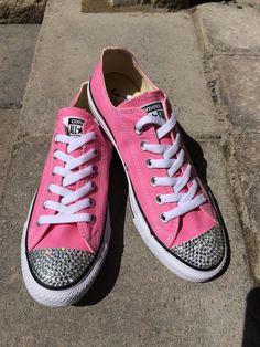 Low Top Pink Blinged Converse Shoes. For Weddings, Brides, Bridesmaids, Flower Girls, Bat Mitzvahs, Parties or Everyday by TrickedKicks on Etsy