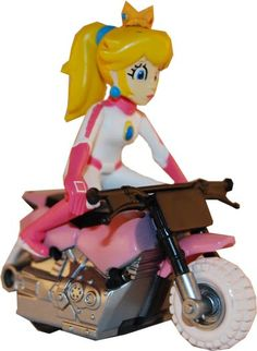 Super Mario Kart Figure Peach On Motorcycle