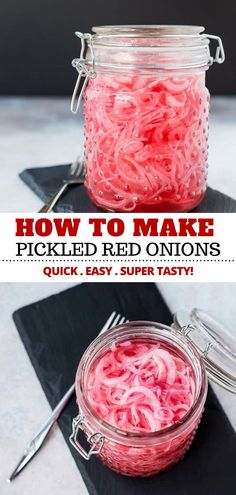 Learning how to make quick pickled red onions is SO easy! This recipe is the best and only takes five minutes and you probably have all the ingredients! Youll love having a jar of these in your fridge for tacos avocado toast and more! Quick Pickled Red Onions, Pickled Red Onion Recipe Mexican, Red Onion Recipes, Avocado Recipes, Angel Food Cake, Avocado Toast, Avocado Salad, Pickles, Sauces