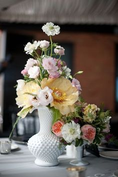 Milk Glass Wedding Centerpieces | Reception Flowers: Vintage Milk glass centerpiece at the Citizen Hotel ...