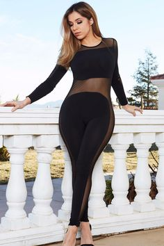 da56cc049512 Women s Long Sleeve See Through Mesh Bodycon Casual Party Jumpsuit - 2  Colors