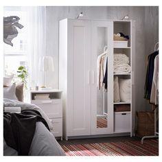 IKEA - BRIMNES, Wardrobe with 3 doors, black, , The mirror door can be placed on… Ikea Brimnes Wardrobe, Diy Wardrobe, Bedroom Wardrobe, Wardrobe With Mirror, White Wardrobe Closet, Curtain Wardrobe, Master Closet, Master Bedroom, Free Standing Wardrobe
