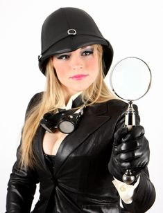 """Absolutely stunning detective, demonstrating the proper use of  a black pith helmet, sold by """"The Blonde Swan"""" at Etsy"""