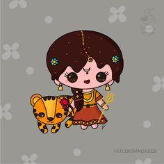 Art Drawings Beautiful, Art Drawings For Kids, Drawing For Kids, Easy Drawings, Lord Shiva Painting, Krishna Painting, Love Canvas Painting, Durga Goddess, Durga Ji