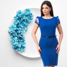 Clientele tale vor adora această rochie mulată pe corp care accentueză frumos silueta. 💙 Are mâneci din tull prin care se vede discret pielea, oferind un aspect elegant și deosebit rochiei. 💎 http://www.adromcollection.ro/1233-rochie-angro-r747.html