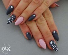 New Fails Design Gray Matte Polka Dots Ideas Gorgeous Nails, Love Nails, Pink Nails, How To Do Nails, Pretty Nails, My Nails, Cute Acrylic Nails, Stiletto Nails, Nail Manicure