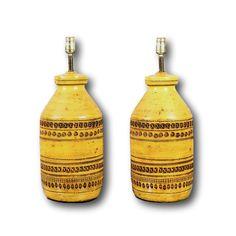 Huge Vintage Bitossi Yellow Lamp Pair Aldo Londi Era Raymor Marlboro by ThePapers on Etsy
