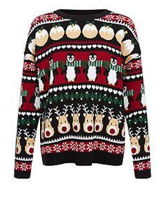 Black Penguin Fairisle Christmas Jumper    New Look