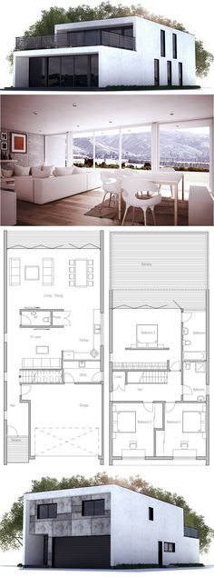 Container Homes Plans - Modern Contemporary Home with three bedrooms and double garage. Floor Plan from… Who Else Wants Simple Step-By-Step Plans To Design And Build A Container Home From Scratch? Modern House Plans, Small House Plans, Modern House Design, Modern Garage, Modern Minimalist House, Modern Floor Plans, Minimalist Lifestyle, Building A Container Home, Container House Plans