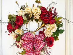 KY Derby Wreath Red and Cream Roses Brass French by HorseWreaths