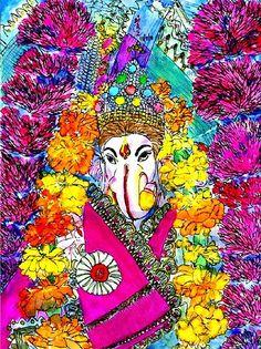 Religion & Co Ganesha Art, Lord Ganesha, Indian Gods, Indian Art, Om Gam Ganapataye Namaha, Shree Ganesh, Hindu Deities, Yoga Art, God Pictures