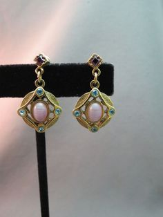1928 Pierced Earrings Art Glass Lavender Pink Stone Dangle Filigree Rhinestone  #1928 #Dangle
