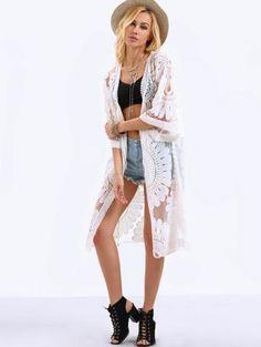 Trendy White Kimono with Half Sleeves