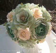 """Love how this has a """"succulent"""" look. Paper Flower Wedding Bouquet Sea Foam And by morepaperthanshoes"""
