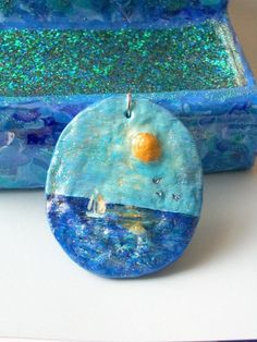 Jewelry supplies Handmade Hand Painted Pendant Ocean by labostyle, $14.50