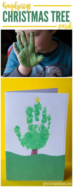 Kids will love making this adorable handprint Christmas tree card for friends and family this year! It's such an easy and fun kids craft.