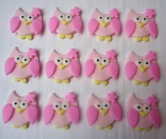 Fondant Cupcake Toppers Pretty Owls by CakesAndKids on Etsy, $20.00