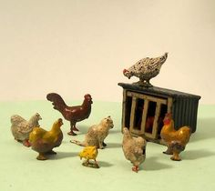 Vintage Lead Farm CAT amongst CHICKENS / HENS + COOP vgc - Johillco and Britains | eBay