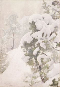 1926 r. Helene Schjerfbeck, Romanticism Paintings, Nature Paintings, Oil Paintings, Snow Art, Post Impressionism, Winter Trees, Watercolor Techniques, Winter Landscape