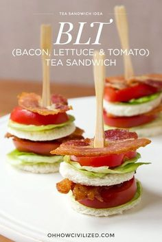 Bacon, Lettuce, and Tomato Tea Sandwich | recipes | recipe | appetizers | apps | party food | parties | for a crowd | finger food | snacks |hors d'oeuvres | fancy | dinner party | ideas | entertaining | mini | low ingredient | easy | the easiest | quick | simple | light