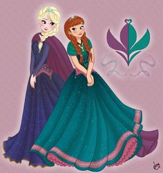 Elsa and Anna in coronation colors