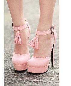 #Heel #shoes #pink #tassle