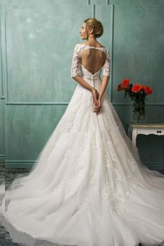 Open Back, 3/4 length sleeve dress