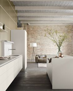 Bilder rustikale Küchengestaltung Ideen Küchenrückwand aus Backstein ...