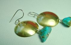 Mixed Metal Brass Silver Turquoise Earrings Large by MarlasJewelry, $35.00 #Handmade #SterlingSilver #Brass #MixedMetals #Turquoise #Gold