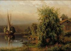 Ferdinand von Wright (Finnish, 1822-1906) Landscape in Morning Fog 1884 - Finland ?