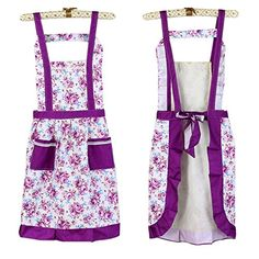 Vintage Pastoralism Floral Flower Apron with Pockets for Women Girls with Stylus Purple >>> See this great product.