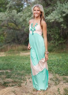 Mint Chevron Maxi Dress | Light Jade and Peach Chevron Spaghetti Strap Maxi Dress on Wanelo