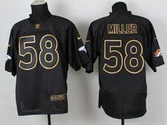 Denver Broncos 58 Von Miller Black 2014 PRO Gold lettering Jerseys