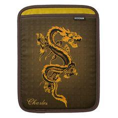 Fantasy Gold & Brown Dragon iPad Sleeve