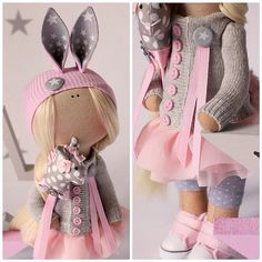 #EkakononToys #dolls #beauty #pink #gray #buttons #rabbit#blond#star#girl#women#handmade#patch#stich#ткани#кукла#ручнаяработа#назаказ#продается