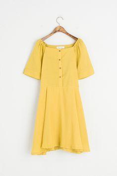 Open Shoulder Button Down Dress, Mustard, 100% Cotton