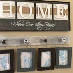 Rustic HOME sign Home Where our story begins Country decor Country Decor, Rustic Decor, Picture Hangers, Etsy App, Home Signs, Farmhouse Style, Diy And Crafts, Handmade Gifts, Wall Art