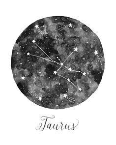 Taurus Constellation Illustration Vertical by fercute on Etsy