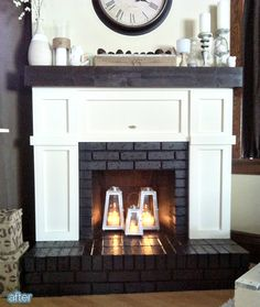 Fireplace makeover, covered up most of the brick with board and batten look. Must add an outlet to the side for mantle Christmas lights. Also I like the lanterns in the fireplace! |Better After