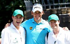 Ant and Dec, caddying for Thomas Bjorn and Lee Westwood at the Par-3 Contest yesterday. Strange one...