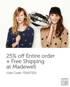 Madewell #BlackFriday - 25% off + Free Shipping Best Black Friday, Cyber Monday Deals, Madewell, Spaces, Free Shipping, Coat, Jackets, Shopping, Fashion