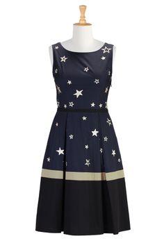 Stars Cotton Poplin Dress, Retro Style Dress