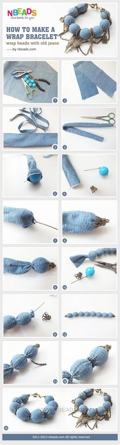 how to make a wrap bracelet - wrap beads with old jeans