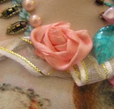 """The Best Free Crafts Articles: Pam's """"Twist & Tack"""" Silk Ribbon Rose Tutorial By Pamela Kellogg of Kitty and Me Designs Types Of Embroidery, Embroidery Patterns Free, Embroidery Designs, Embroidery Stitches, Ribbon Embroidery Tutorial, Silk Ribbon Embroidery, Ribbon Sewing, Hand Embroidery, Rose Tutorial"""