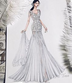 Fashion Illustration Speed Painting with Ink - Drawing On Demand Fashion Design Drawings, Fashion Sketches, Fashion Illustrations, Fashion Flats, Fashion Art, Womens Fashion, Wedding Dress Sketches, Wedding Dresses, Croquis Fashion