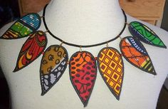 african fabric necklace by Paintedthreads