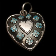 Puffy Heart Charm Vintage Sterling Silver Enamel Flowers Hand-Engraved Ann