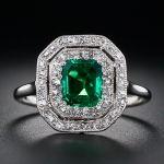 Antique emerald and diamond pin