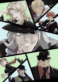 Detective Conan   Members of the Black Organization: Gin, Vodka, Chianti, Korn, Vermonth... Fake members: Kir aka Rena Mizunashi from the C.I.A, Bourbon aka Tooru Amuro(Rei Furuyu) from the Secret Police